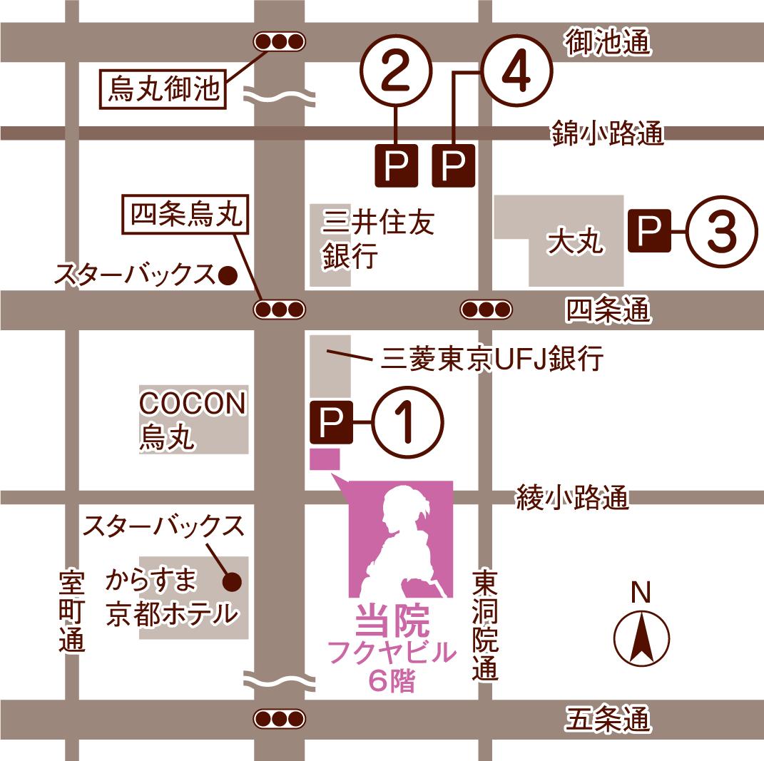 四条烏丸 松ヶ崎クリニック 駐車場地図